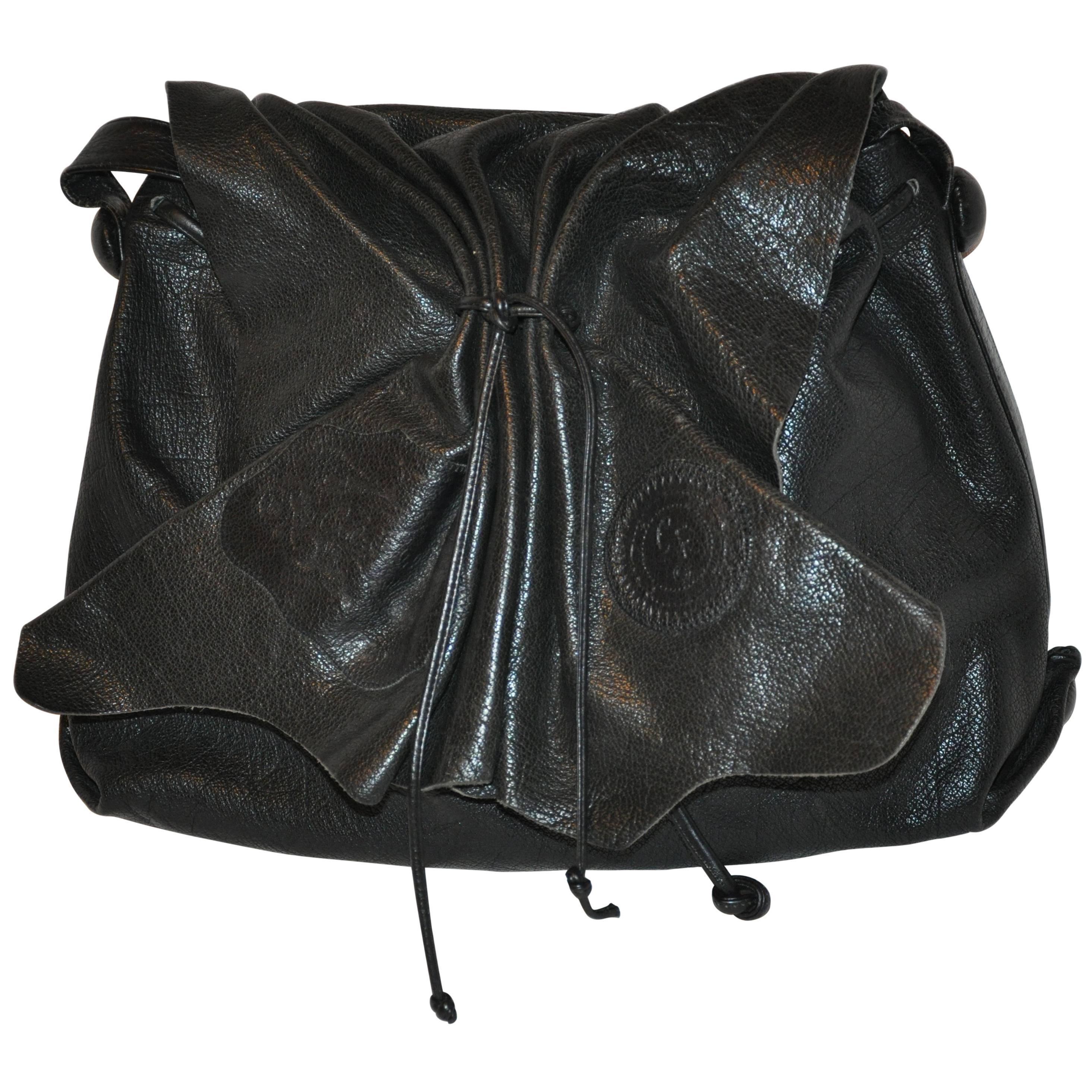 Carlos Falchi Large Signature Black Textured Buffalo Shoulder Bag