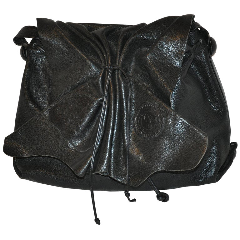 Carlos Falchi Large Signature Black Textured Buffalo Shoulder Bag