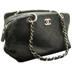 CHANEL Caviar Chain Shoulder Bag Boston Black Silver Quilted