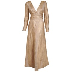 1977 Givenchy Haute-Couture Metallic Gold Silk Brocade Long-Sleeve Plunge Dress