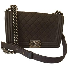 Chanel Medium Boy Bag in Brown Suede Leather