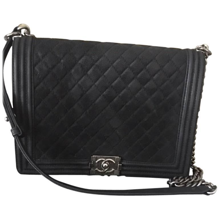 Chanel Large Boy Bag in Quilted Caviar SUEDE Leather