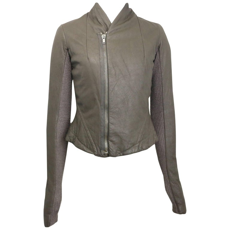 Rick Owens Taupe Grey Distressed Leather with Knitted Wool Cropped Jacket