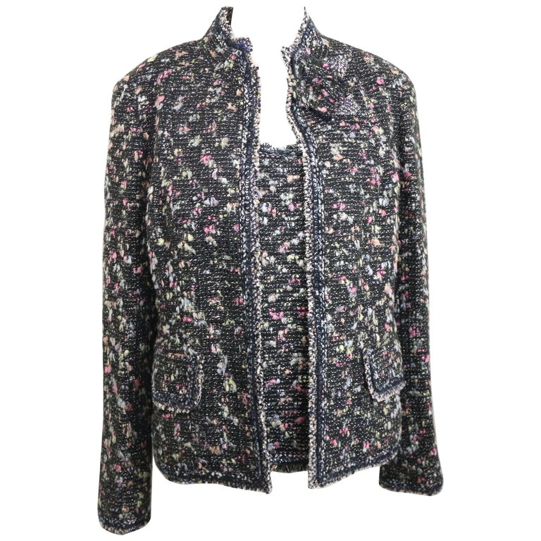 Chanel Black with Multi Colours Tweed Jacket and Sleeveless Top