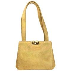 Chanel Gold Metallic Suede Small Handbag