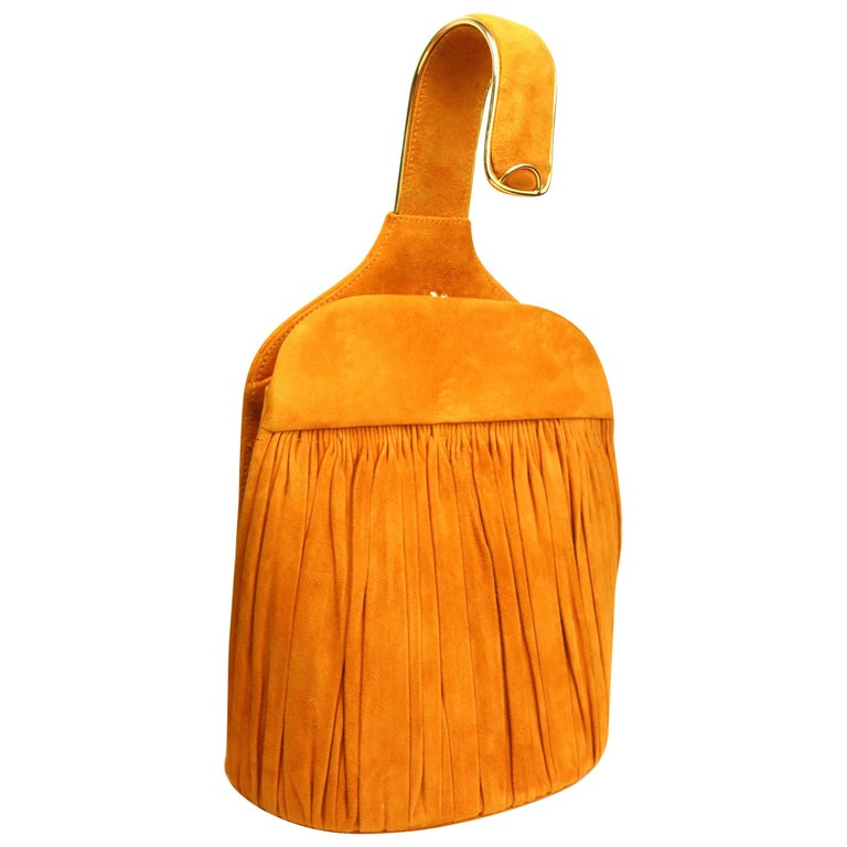 Andrea Pfister Orange Yellow Suede Handbag