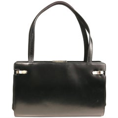 Gucci by Tom Ford Black Leather and Silk Handbag