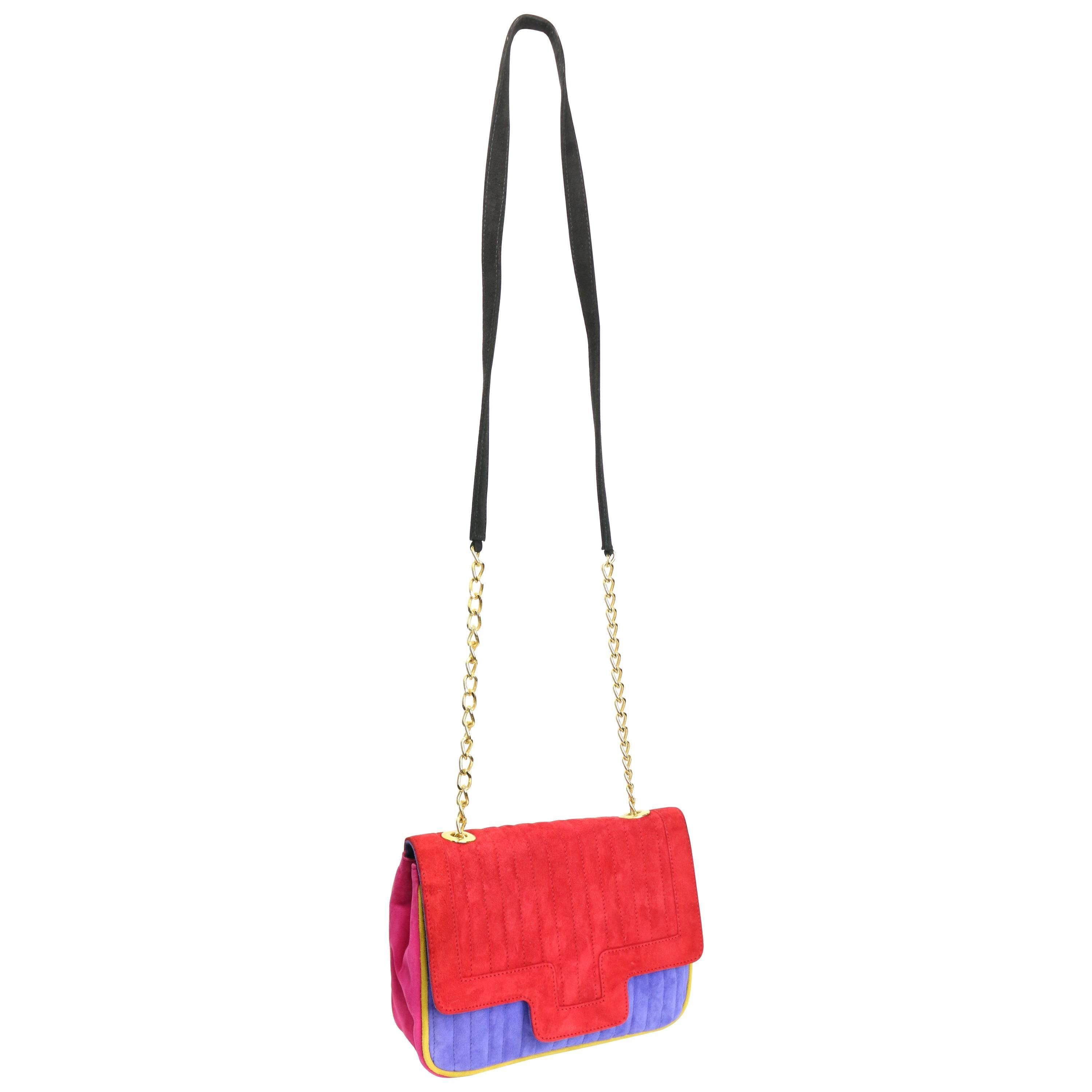 1stdibs Pancaldi Colour Blocked Suede Flap Shoulder Bag lNcFM6