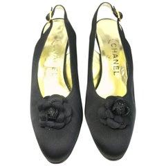 Chanel Black Silk Camellia Slingback Heels