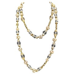 Escada Gold Toned Metal with Crystal Rhinestones and Glass Chain Necklace
