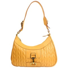 Gucci Camel Hobo Quilted Lambskin Leather Handbag