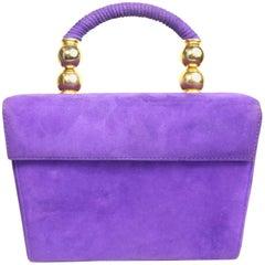 Baldinini Purple Suede Box Handbag