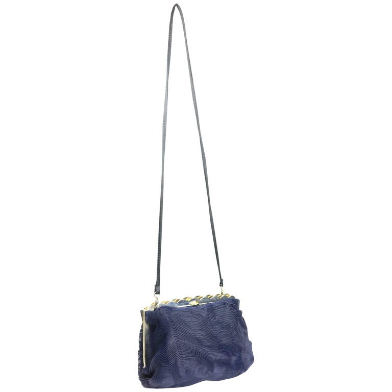 Desmo Dark Navy Pleated Wave Pattern Clutch/Shoulder Bag