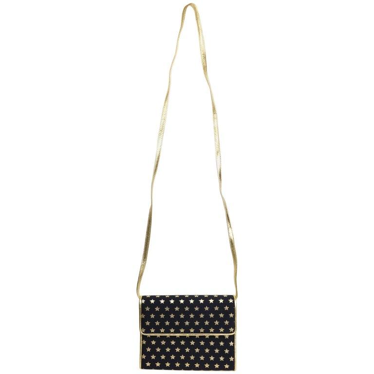 Escada Dark Navy With Gold Metallic Stars Shoulder Bag