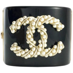 2015 Chanel Baroque-Esque Pearl Logo Cuff Bracelet
