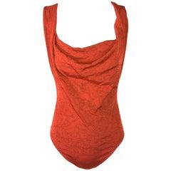2004 Vivienne Westwood x Wolford Orgie Print Orange Bodysuit Top