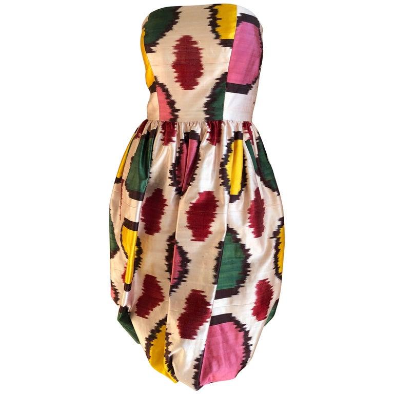 Oscar de la Renta Silk Blend Ikat Print Strapless Cocktail Dress Sz 4 2008 For Sale
