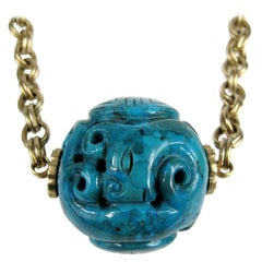 "Stephen Dweck Carved 2+"" Turquoise Necklace New, Never Worn 1990s"
