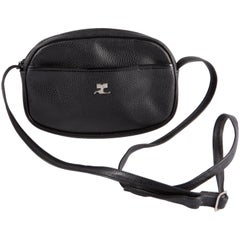 Black Courreges Leather Shoulder Bag
