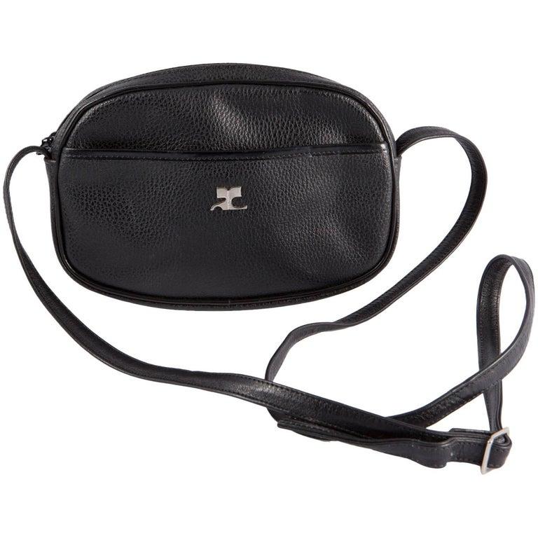 Black Courreges Leather Shoulder Bag 1