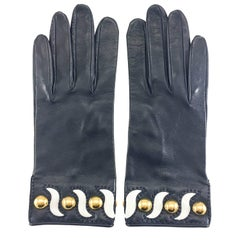 Hermes Navy Blue Leather Gloves