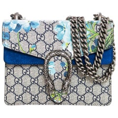 Gucci 2017 Blue Monogram Dionysus GG Blooms Mini Crossbody Bag