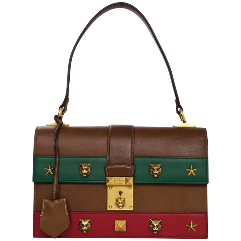 Gucci Brown Red Green Feline Studded Lock Top Handle Bag