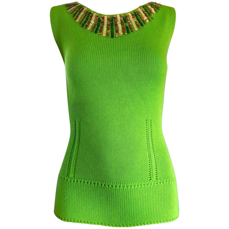 1990s Bergdorf Goodman 1960s Style Lime Neon Green Sequin Knit Sweater Shell Top
