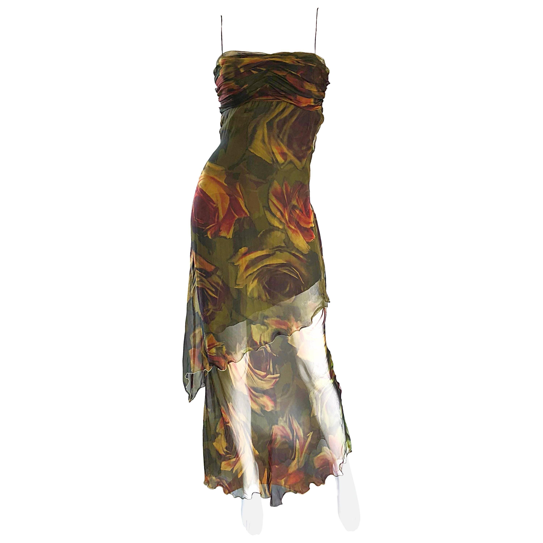 1990s Luca Luca Silk Chiffon High - Low Rose Print Semi Sheer Vintage 90s Gown