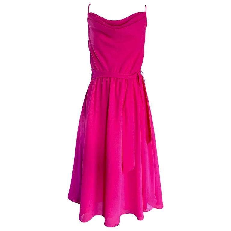 1970s Phillipe Jodur for Ferrali Hot Pink Crepe Sleeveless Belted Disco Dress For Sale