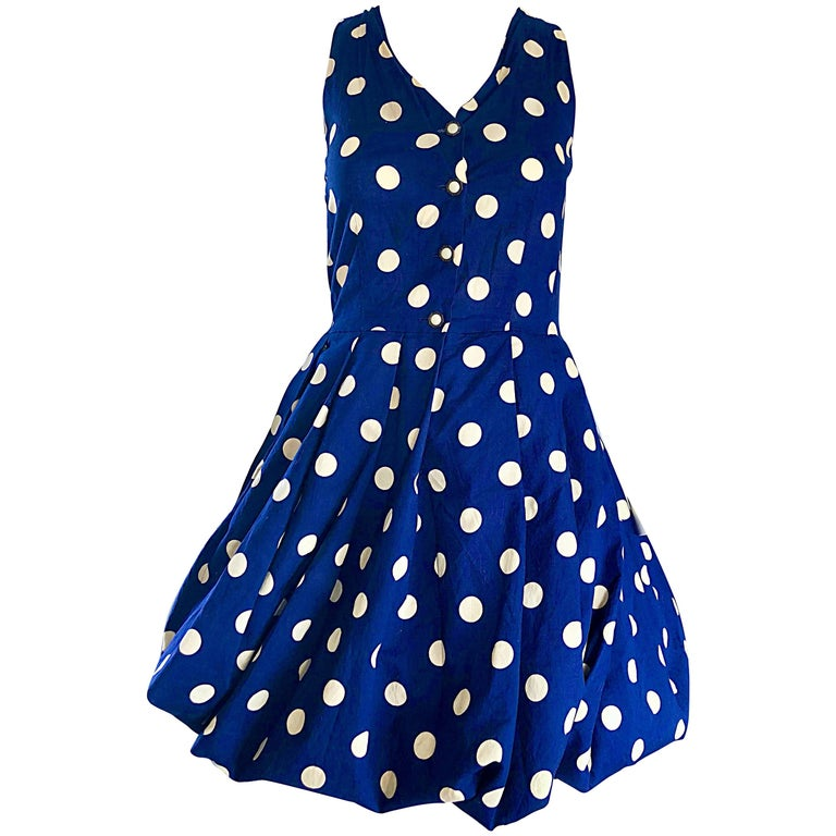 1990s Sergio Tegon Navy Blue and White Italian Cotton 90s Vintage Bubble Dress For Sale