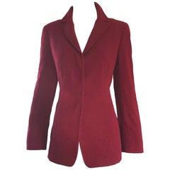 Vintage Calvin Klein Collection 1990s Burgundy Maroon Size 4 /6 Blazer Jacket