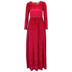 1960s Bessi Silk Jersey and Silk Chiffon Pink and Red Print Dress