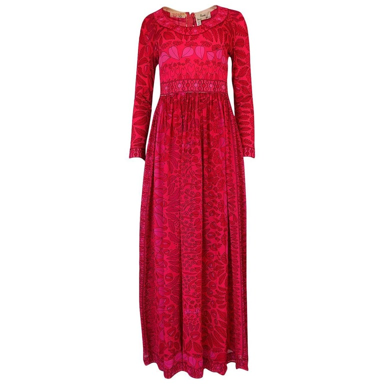 1960s Bessi Silk Jersey and Silk Chiffon Pink and Red Print Dress