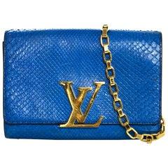 Louis Vuitton Cobalt Blue Python Chain Louise Clutch Shoulder Bag