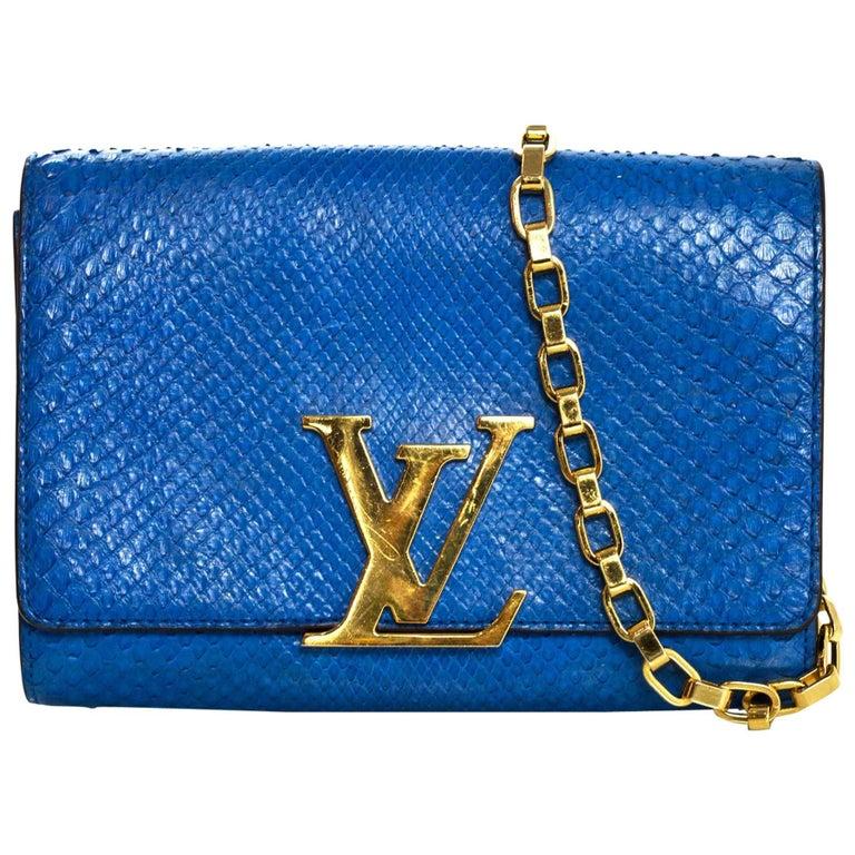 Louis Vuitton Cobalt Blue Python Chain Louise Clutch Shoulder Bag 1