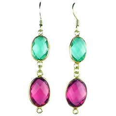 Pink and Green Quartz Gold Plated Hook Earrings