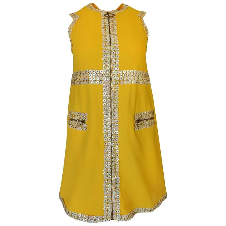 Chloe by Karl Lagerfeld Stud and Paillettes Yellow Mini Dress circa 1967