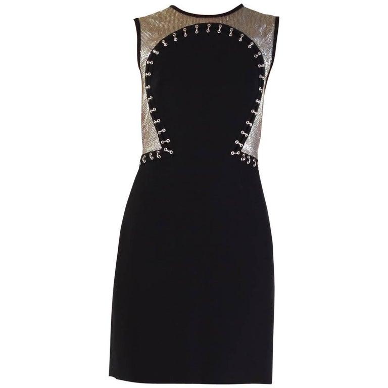 Versace Black Sleeveless Metal Chain Mesh Dress