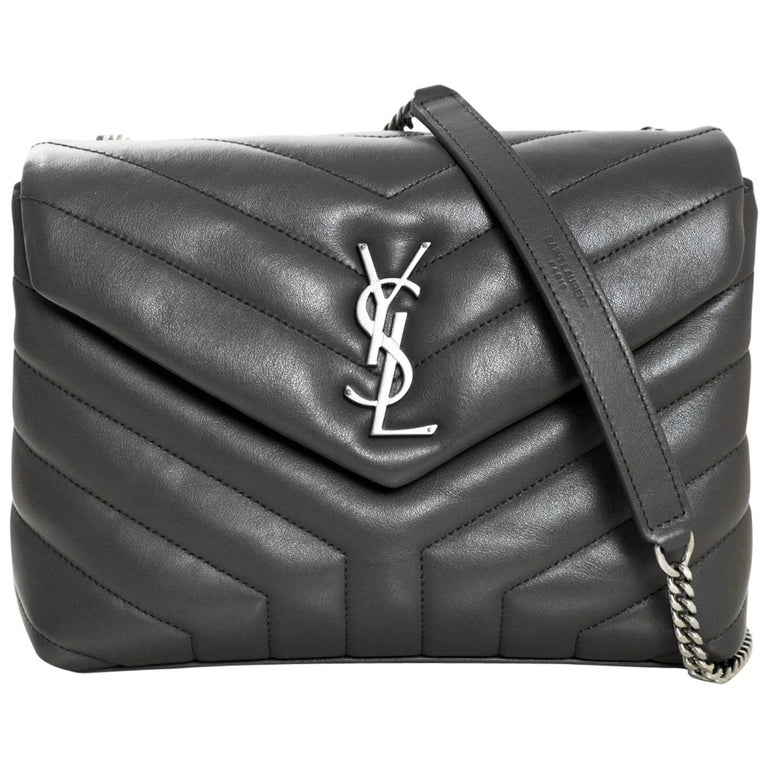 222fab071e6 Yves Saint Laurent Grey Y Quilted Calfskin Small Monogram Loulou Flap Bag  For Sale