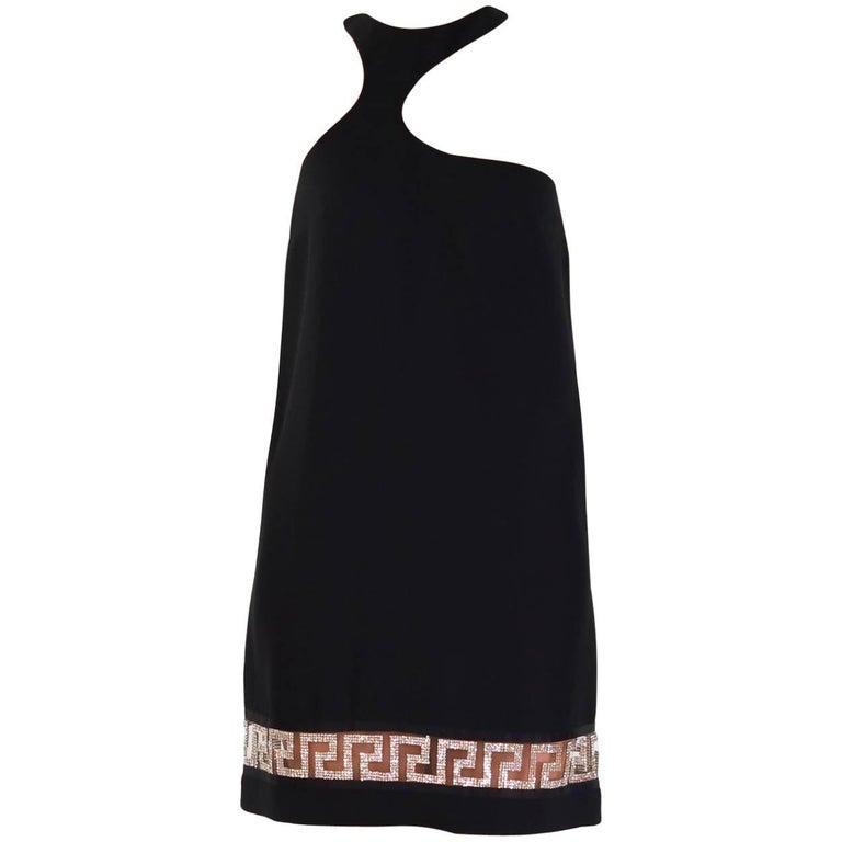 New Versace Black Crystal Embellished Black Silk Dress