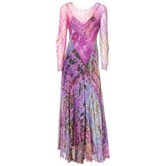 Chiffon Tie Dye Bias Cut Maxi Dress C. 1970's