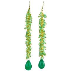 Green Agate Gold Plated Dangle Earrings
