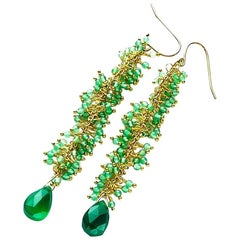 "Gemjunky Chic Bright Green Agate Swinging Gold Plated Hook 3.4"" Earrings"