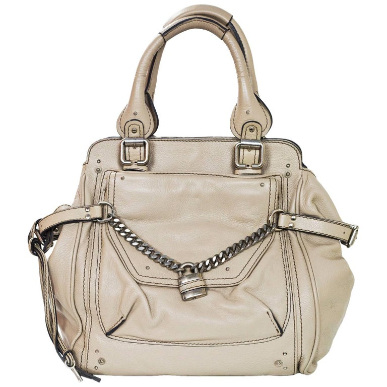 Chloe Beige Leather Large Paddington Capsule Tote Bag