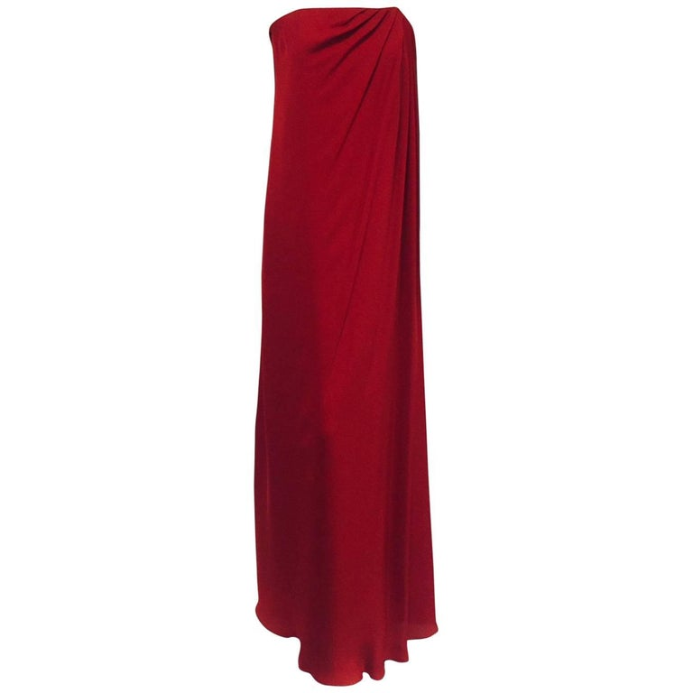 Monique Lhuillier Ravishing Red Silk Strapless Goddess Gown