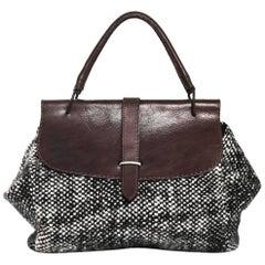 Marni Black and White Tweed Top Handle Bag