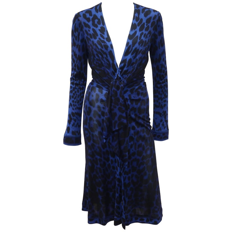 C.1980 Leonard Black & Blue Animal Print Silk Jersey Disco Dress For Sale
