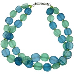 Double Strand Necklace of Blue and Green Sea Glass