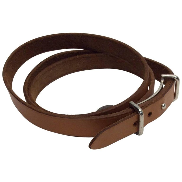 Hermes Brown Leather Wrap Bracelet